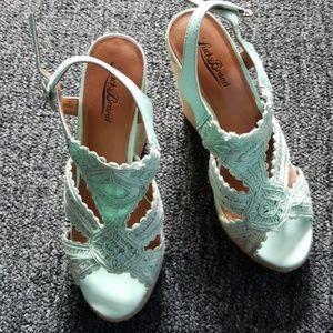 Lucky Brand mint green wedge sandals